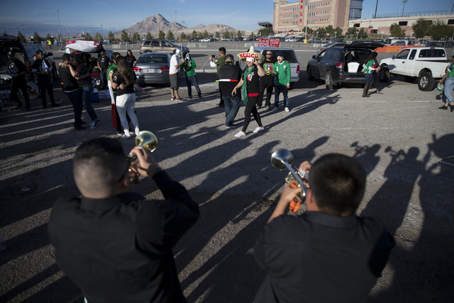People dance to live music before the men's soccer game between the national teams of Mexico and Iceland at Sam Boyd Stadium on Wednesday, Feb. 8, 2017, in Las Vegas. (Erik Verduzco/Las Vegas Revi ...