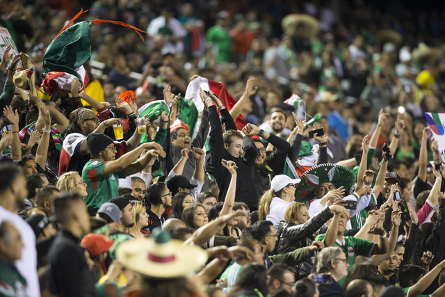People attend men's exhibition soccer match between Mexico and Iceland at Sam Boyd Stadium on Wednesday, Feb. 8, 2017, in Las Vegas. (Erik Verduzco/Las Vegas Review-Journal) @Erik_Verduzco