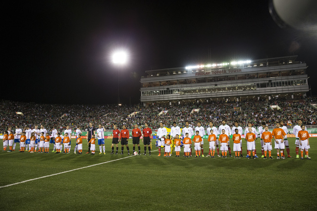 Teams from Iceland and Mexico take the field for the men's soccer exhibition match at Sam Boyd Stadium on Wednesday, Feb. 8, 2017, in Las Vegas. (Erik Verduzco/Las Vegas Review-Journal) @Erik_Verduzco