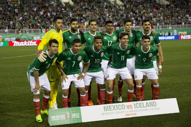 The Mexican men's national soccer team before their game against Iceland for an exhibition match at Sam Boyd Stadium on Wednesday, Feb. 8, 2017, in Las Vegas. (Erik Verduzco/Las Vegas Review-Journ ...