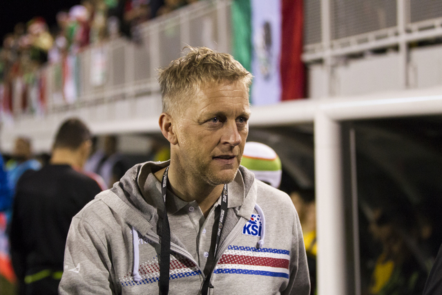 Iceland head coach Heimir Hallgrimsson before the men's soccer exhibition match against Mexico at Sam Boyd Stadium on Wednesday, Feb. 8, 2017, in Las Vegas. Mexico won 1-0. (Erik Verduzco/Las Vega ...