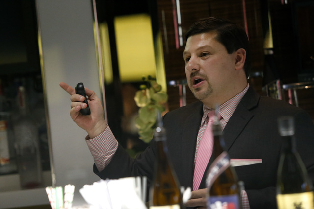 Mixologists and Spirits Educator Max Solano, speaks to a class of students at Southern Wine & Spirits of Nevada on Friday, Jan. 06, 2017, in Las Vegas. (Christian K. Lee/Las Vegas Review-Journ ...