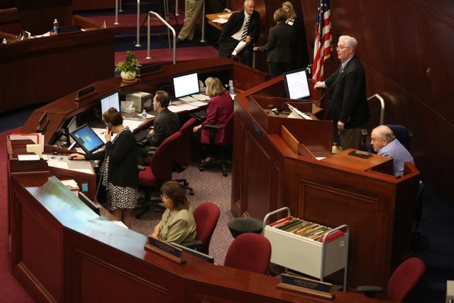 Assemblyman John Hambrick, right, during the 30th Special Session of the Nevada Legislature, Oct. 10, 2016, in Carson City. (David Guzman/Las Vegas Review-Journal @davidguzman1985)