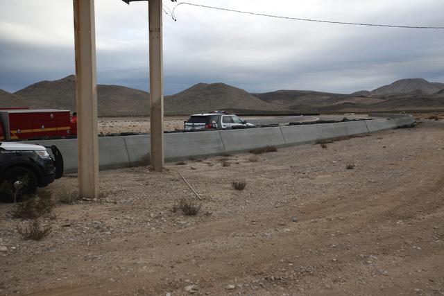 The scene where two people were killed in a fiery crash at SpeedVegas on Sunday, Feb. 12, 2017, in Las Vegas. (Rachel Aston/Las Vegas Review-Journal) @rookie__rae