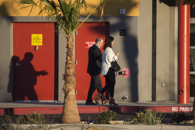 People arrive at SpeedVegas after the business opened again today since a fiery crash that killed two people Feb.12, Thursday, Feb. 23, 2017, in Las Vegas. (Erik Verduzco/Las Vegas Review-Journal) ...