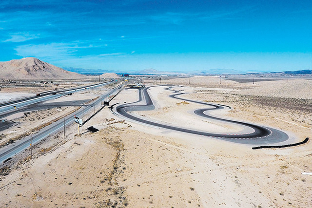 The SpeedVegas racetrack, adjacent to Las Vegas Boulevard South and Interstate 15 near Sloan, is closed Wednesday, Feb. 15, 2017. A fiery crash killed a driver and instructor Sunday at the turn on ...
