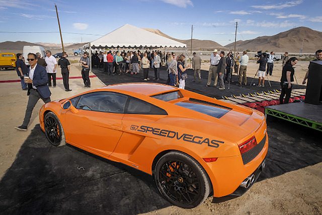 A Lamborghini Gallardo LP 550 is shown at the groundbreaking ceremony for the Speed Vegas attraction on South Las Vegas Blvd. (Mark Damon/Las Vegas Review-Journal)