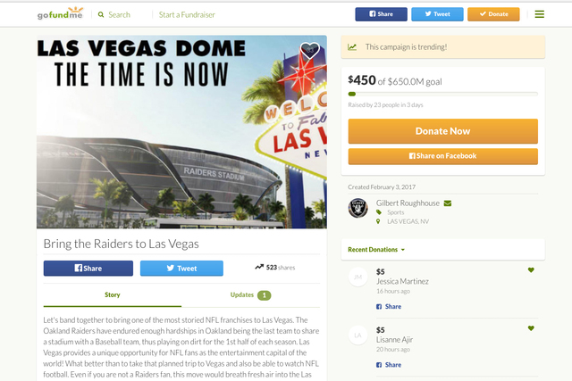 Las Vegan James Flynn has set up a GoFundMe account to raise the money to bring the NFL to Southern Nevada. (Screenshot?GoFundMe)