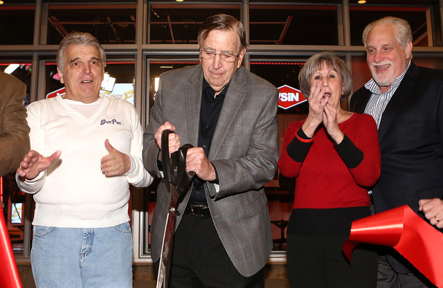 Jimmy Vaccaro, VSiN expert oddsmaker, left, Brent Musburger, manager editor and lead host of VSiN, second left, Commissioner Susan Brager, and Al Bernstein, VSiN lead host, right, participate in V ...