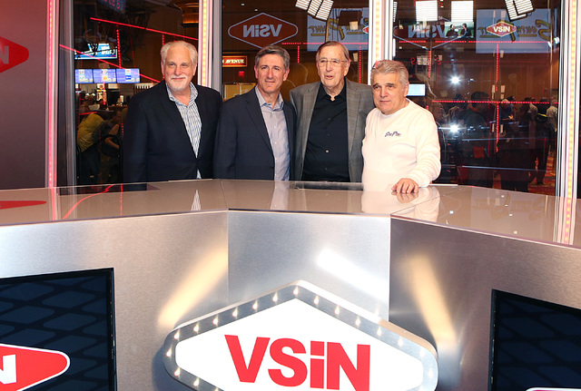 Al Bernstein, VSiN lead host, left, Vinny Magliulo, VSiN expert oddsmaker, second left, Brent Musburger, manager editor and lead host of VSiN, second right, and Jimmy Vaccaro, VSiN expert oddsmake ...