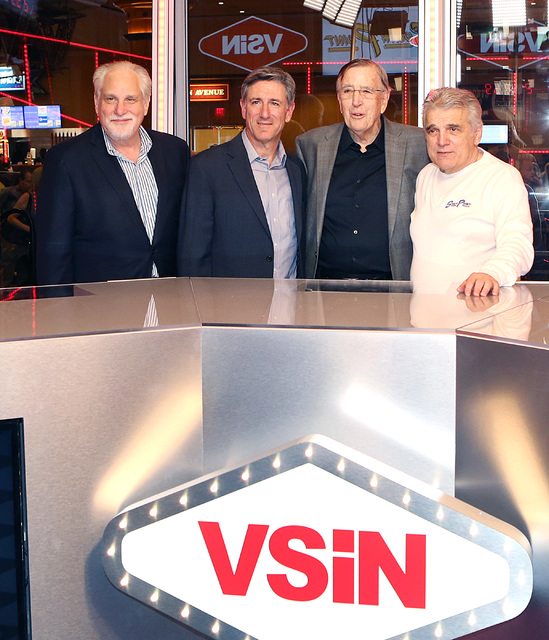 Al Bernstein, VSiN lead host, left, Vinny Magliulo, VSiN expert oddsmaker, second left, Brent Musburger, manager editor and lead host of VSiN, and Jimmy Vaccaro, VSiN expert oddsmaker, right, at V ...