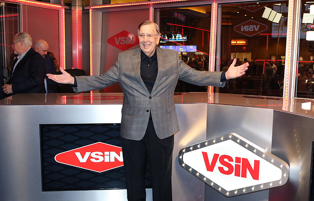Brent Musburger, manager editor and lead host of VSiN, at VSiN studio on Friday, Feb. 3, 2017, at South Point hotel casino in Las Vegas. (Bizuayehu Tesfaye/Las Vegas Review-Journal) @bizutesfaye
