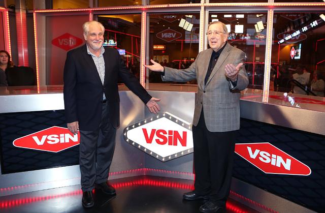 Al Bernstein, VSiN lead host, left,  and Brent Musburger, manager editor and lead host of VSiN, at VSiN studio on Friday, Feb. 3, 2017, at South Point hotel-casino in Las Vegas. (Bizuayehu Tesfaye ...