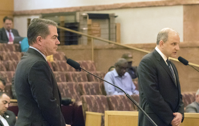 Oakland Raiders president Marc Badain (right) speaks to the Las Vegas Stadium Authority Board with UNLV president Len Jessup at the Clark County Commission Chambers on Feb. 9, 2017. (Heidi Fang/La ...