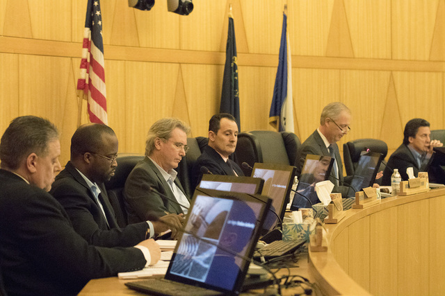 The Las Vegas Stadium Authority Board meeting is called to order on Feb. 9, 2017 at the Clark County Commission Chambers. (Heidi Fang/Las Vegas Review-Journal) @HeidiFang