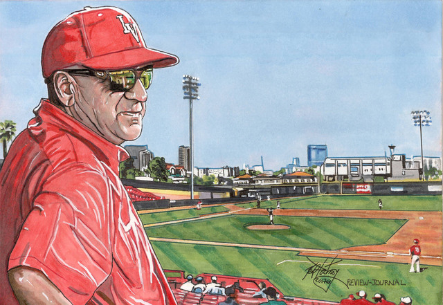 UNLV baseball head coach, Stan Stolte. (Neal Portnoy/Las Vegas Review-Journal)