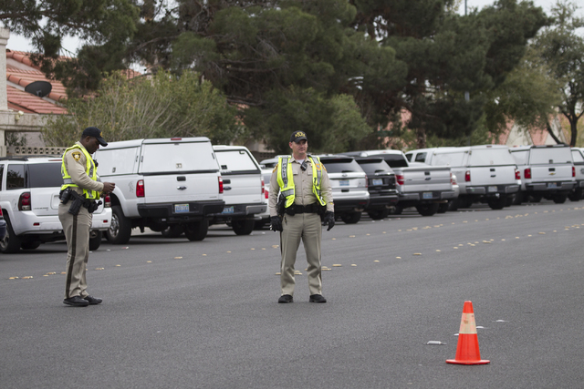 Police activity on Rainbow Boulevard near Cheyenne Avenue on Saturday, Feb. 25, 2017, in Las Vegas. (Erik Verduzco/Las Vegas Review-Journal) @Erik_Verduzco