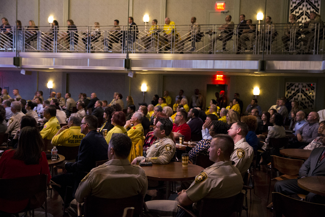 People listen to Clark County Sheriff Joe Lombardo during the State of the Department address at the Smith Center, Wednesday, Feb. 22, 2017, in Las Vegas. (Erik Verduzco/Las Vegas Review-Journal)  ...