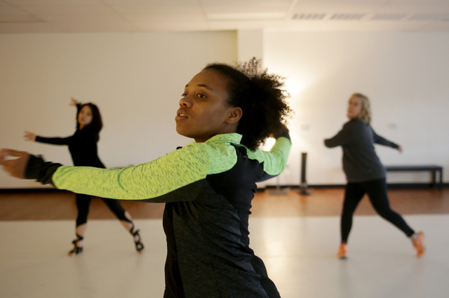Instructor Troinetta Nikki leads a warm up session on Monday, Feb. 20, 2017, at the Darnell Dance Works Collective dance studio in Las Vegas. (Rachel Aston/Las Vegas Review-Journal) @rookie__rae
