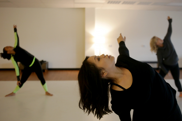 Instructor Judy Micaiah leads a warm up session on Monday, Feb. 20, 2017, at the Darnell Dance Works Collective dance studio in Las Vegas. (Rachel Aston/Las Vegas Review-Journal) @rookie__rae