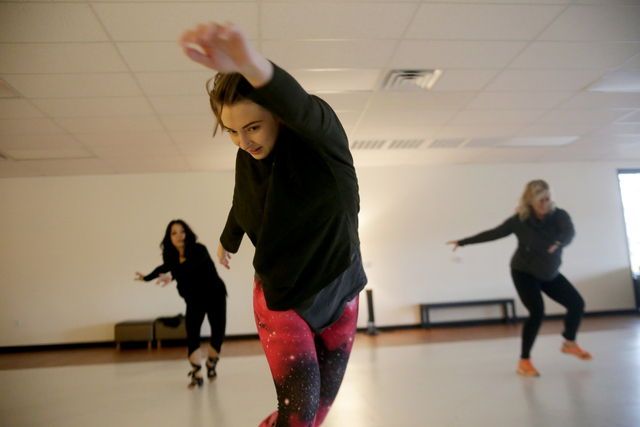 Instructor Aubrey Pascoe leads a warm up session on Monday, Feb. 20, 2017, at the Darnell Dance Works Collective dance studio in Las Vegas. (Rachel Aston/Las Vegas Review-Journal) @rookie__rae