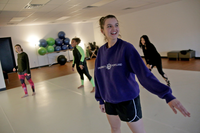 Instructor Janan Laubscher leads a warm up session on Monday, Feb. 20, 2017, at the Darnell Dance Works Collective dance studio in Las Vegas. (Rachel Aston/Las Vegas Review-Journal) @rookie__rae