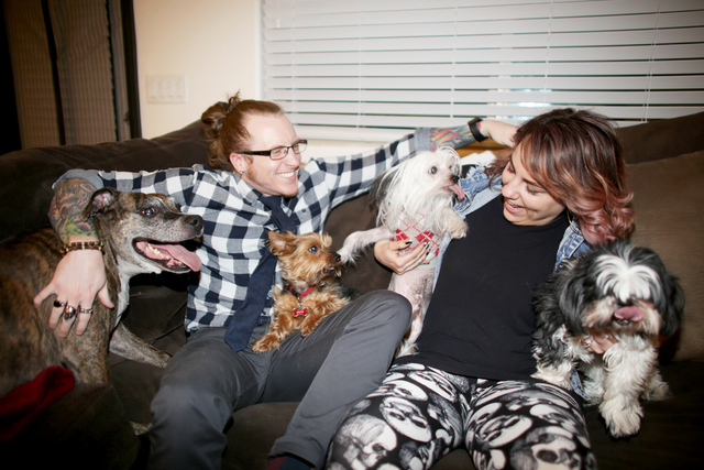 Joel Zela and his wife Amanda Zela with their dogs at their home on Tuesday, Jan. 31, 2017, in Las Vegas. (Rachel Aston/Las Vegas Review-Journal) @rookie__rae