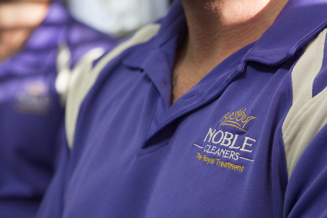 Noble Carpet Cleaners logo is seen on the shirt of co-owner Jacob Arnett on Tuesday, Feb. 14, 2017, in Las Vegas. Noble Carpet Cleaners opened in 2011 and provides free carpet cleaning for veteran ...