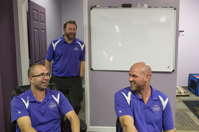 Gene Szemacs, left, Ryan Szemacs, center and Jacob Arnett, right chat at the office of Noble Carpet Cleaners on Tuesday, Feb. 14, 2017, in Las Vegas.  (Bridget Bennett/Las Vegas Review-Journal) @b ...