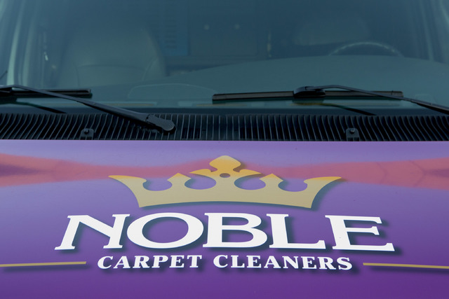 The front of a Noble Carpet Cleaners van as on Tuesday, Feb. 14, 2017, in Las Vegas. Noble Carpet Cleaners opened in 2011 and provides free carpet cleaning for veterans via a monthly Facebook give ...