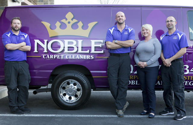 Noble Carpet Cleaners's staff from left to right,Ryan Szemacs, Jacob Arnett, Gene Szemacs and Samantha Beavor pictured on Tuesday, Feb. 14, 2017, in Las Vegas.  (Bridget Bennett/Las Vegas Review-J ...