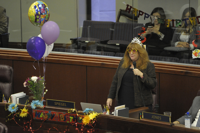 Assemblywoman Ellen Spiegel, D-Sparks thanks legislators for the birthday wishes she's received inside the Nevada Legislative Building Thursday, May 14, 2015, in Carson City. (Lisa J. Tolda/Specia ...