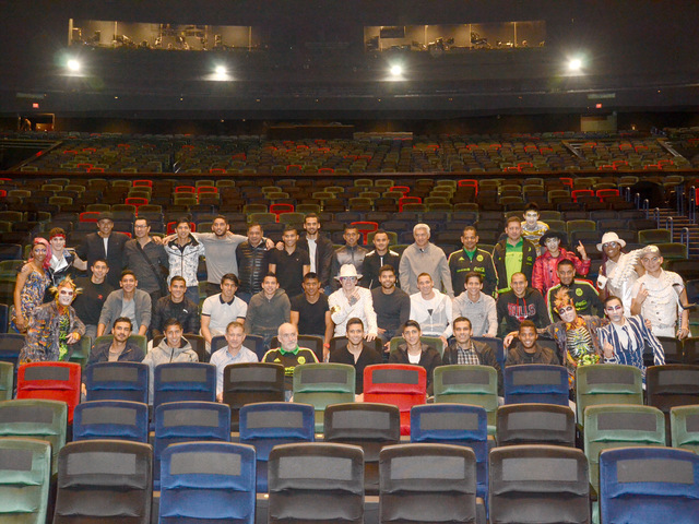 """The soccer team of Mexico attends Cirque du Soleil's """"Michael Jackson One"""" at Mandalay Bay on Tuesday, Feb. 7, 2017, in Las Vegas. (Cirque du Soleil)"""