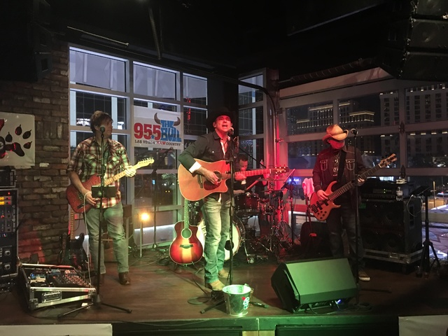 The Tony Marques Band, with Marques at the middle, perform at Redneck Riviera on Thursday, Feb. 16, 2017 (John Katsilometes/Las Vegas Review-Journal)