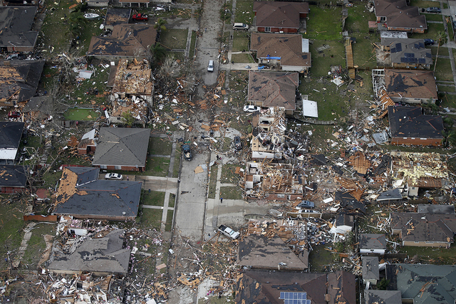 Destroyed and damaged homes are seen in this aerial photo after a tornado tore through the eastern neighborhood in New Orleans, Tuesday, Feb. 7, 2017. (Gerald Herbert/AP)