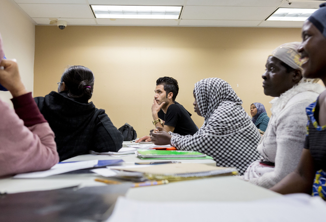 Refugees students of the Beginners ESL class at Catholic Charities of Southern Nevada, North Las Vegas Blvd. and North Owens Ave., learn the spellings of months, Las Vegas, Feb. 8, 2017.  (Elizabe ...