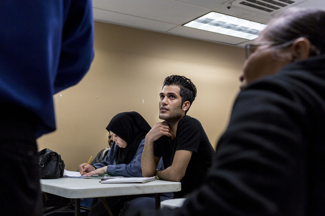 Refugee students of the Beginners ESL class at Catholic Charities of Southern Nevada, North Las Vegas Blvd. and North Owens Ave., learn the spellings of months, Las Vegas, Feb. 8, 2017.  (Elizabet ...