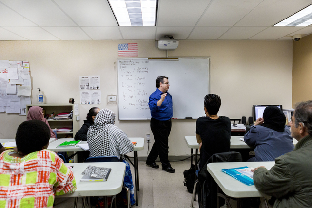 Refugees and students of the Beginners ESL class at Catholic Charities of Southern Nevada, North Las Vegas Blvd. and North Owens Ave., learn the spellings of months, Las Vegas, Feb. 8, 2017.  (Eli ...