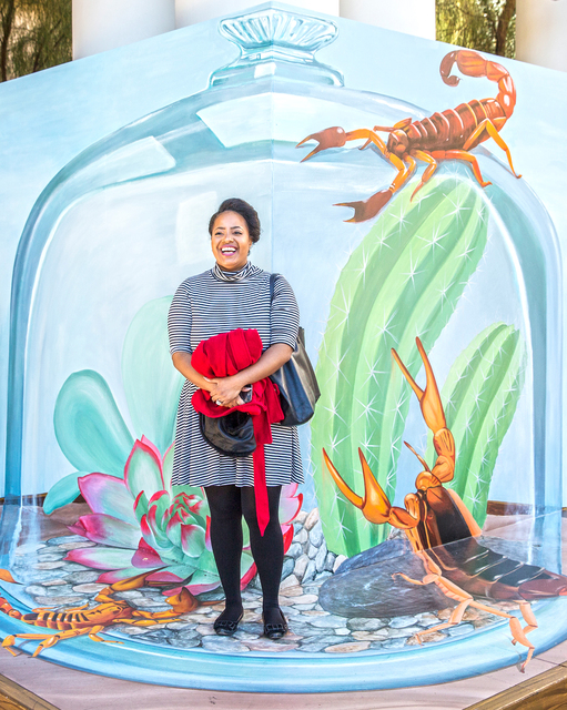 Brittany Harris stands in front of a Trick Eye Experience painting, one of a set of 3-D interactive art installations outside the Monte Carlo hotel-casino, on Tuesday, Jan. 31, 2017, in Las Vegas. ...