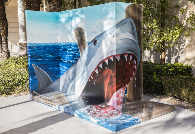 One of three Trick Eye Experience paintings recently installed outside the Monte Carlo hotel-casino on Tuesday, Jan. 31, 2017, in Las Vegas. (Benjamin Hager/Las Vegas Review-Journal) @benjaminhphoto