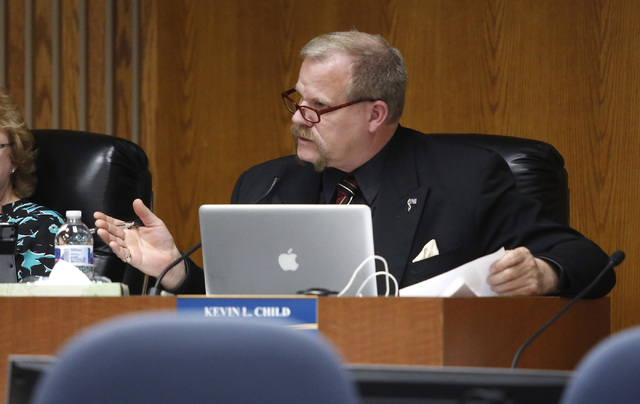 Clark County School Board Trustee Kevin L. Child speaks during a board meeting at the Edward A. Greer Center on Thursday, Feb. 23, 2017, in Las Vegas. Childs has insisted that he's being ta ...