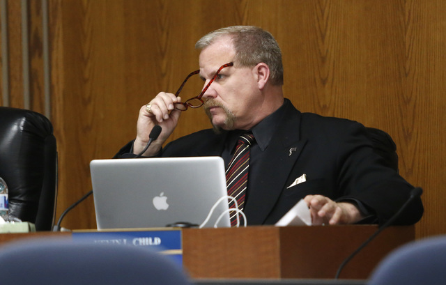 Clark County School Board Trustee Kevin L. Child during a board meeting at the Edward A. Greer Center on Thursday, Feb. 23, 2017, in Las Vegas. Childs has insisted that he's being targeted  ...