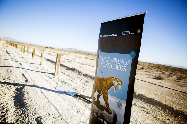 A sign marks the boundary at Tule Springs Fossil Beds National Monument in North Las Vegas on Monday, Dec. 19, 2016. (Jeff Scheid/Las Vegas Review-Journal)