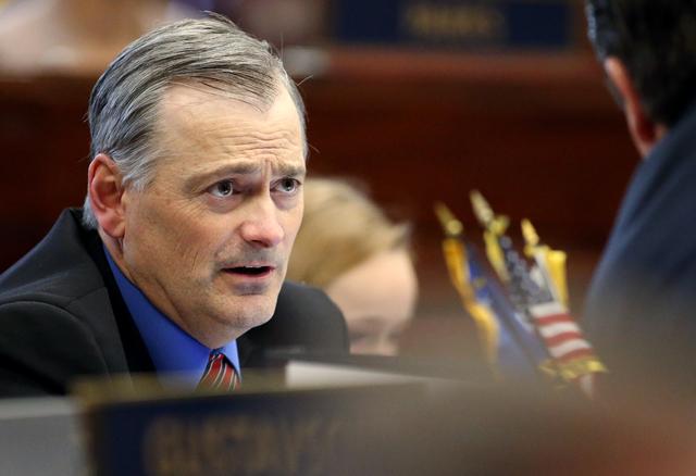 Nevada Sen. James Settelemeyer, R-Minden, works on the Senate floor at the Legislative Building in Carson City, Nev. (Cathleen Allison/Las Vegas Review-Journal)