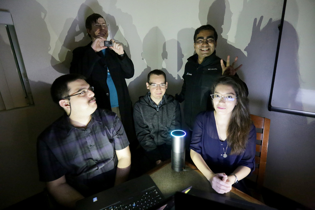 """Ernesto Zamora Ramos, from left, Derek Jewell, Ruben Medina, Saju Varghese, and Maria Ramos Gonzalez are members of the UNLV Hackathon team that beat out 28 other teams in a """"life-hack&am ..."""