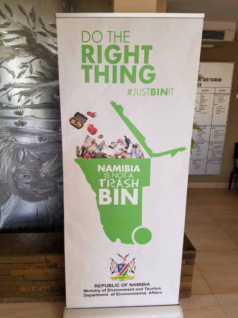 A sign promoting recycling is seen Thursday, Jan. 26, 2017 in Windhoek, Namibia, Africa. The Las Vegas Urban Chamber of Commerce returned Friday from the chamber's first-ever led trade mission t ...