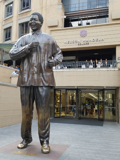 A statue of Nelson Mandela in Nelson Mandela Square, Johannesburg, South Africa is seen Saturday, Jan. 28, 2017. The Las Vegas Urban Chamber of Commerce returned Friday from the chamber's first- ...