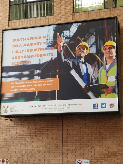 A billboard in South Africa shows the country's economic development efforts on Monday, Jan. 30, 2017. The Las Vegas Urban Chamber of Commerce returned Friday from the chamber's first-ever led t ...