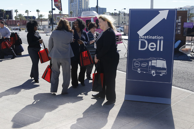 People talk to each other during the Destination Dell mobile tour bus event near the Las Vegas City Hall on Wednesday, Feb. 22, 2017, in Las Vegas. (Christian K. Lee/Las Vegas Review-Journal) @chr ...