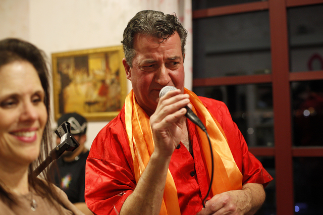 Brian Volpe, who plays Elvis, sings at the rehearsal for the band for the Jewish talent show Viva Oy Vegas on Monday, Feb. 13, 2017, at the MarketLV at Tivoli Village in Las Vegas. (Rachel Aston/L ...